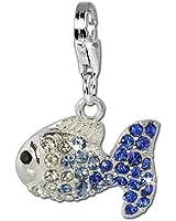 SilberDream scintillement bijoux - Charm Poisson - Femme - Argent 925/1000 - Cristaux Swarovski bleu ICE - scintillement Charms - GSC001