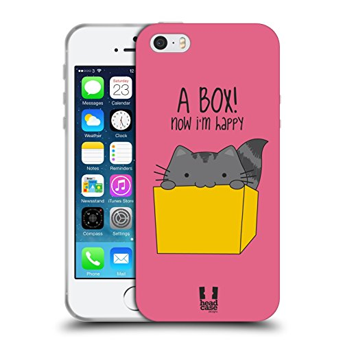 Head Case Designs Happy Box Wilbur the Cat Soft Gel Back Case Cover for Apple iPhone 5 5s