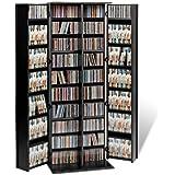 Prepac Deluxe CD Storage Rack with Locking Shaker Doors, Large, Black