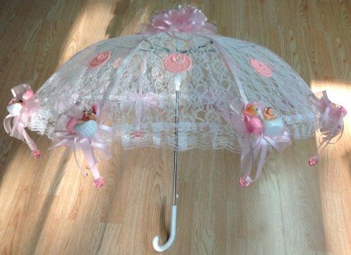 """36"""" White Lace Baby Babies Shower Umbrella Pink Ducks & Pacifiers front-883378"""