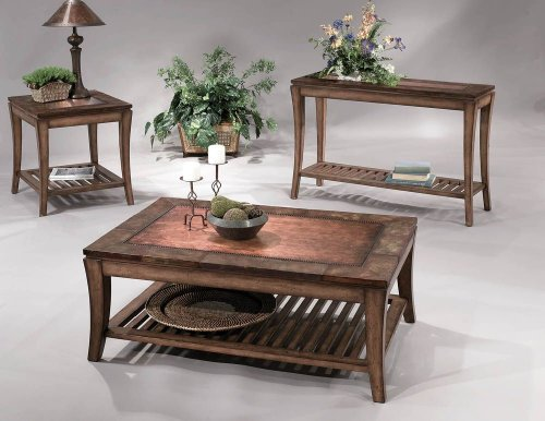 Cheap Console Table by Bassett Mirror Company – Medium Wood w/ Copper Highlights (8135-400) (8135-400)