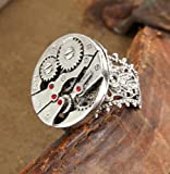 51UMvRDmjoL. SL160  Steampunk Watch Gears Silver Costume Ring Adult