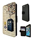 477-Vintage News alice in wonderland Doctor Who Tardis Call Box butterflies Design Fashion Trend Credit Card Holder Purse Wallet Book Style Tpu Leather Flip Pouch Case For All iphone 6 4.7