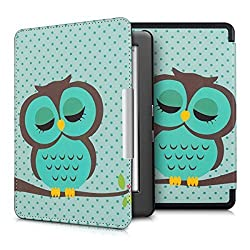kwmobile Elegant synthetic leather case for the Kobo Glo HD / Touch 2.0 Design sleeping owl in turquoise brown mint with practical magnetic clasp