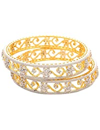 JFL- Awesome American Diamond/ Cz Diamond Designer One Gram Gold Plated Bangles For Women.
