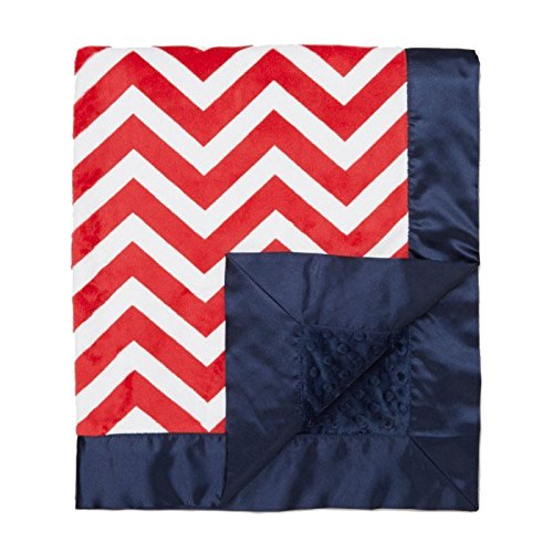 "My Blankee Chevron Minky Red/White w/ Minky Dot Navy Baby Blanket, 30"" x 35"""