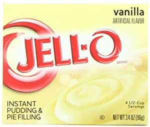 Jell-O Instant Pudding & Pie Filling, Vanilla, 3.4-Ounce Boxes (Pack of 24)