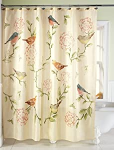 Collections Etc Birds And Blooms Floral Shower Curtain Home Kitchen