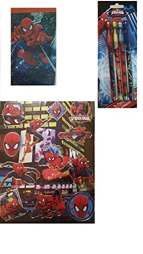 Spiderman Stationary Set Journal Scrapbook Stickers with Mechanical Pencils 3 Piece Bundle Gift Pack - 1