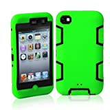 MagicSky Robot Series Hybrid Case for Apple iPod Touch 4 4th Generation - 1 Pack - Retail Packaging - Black/Green