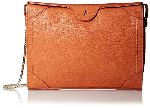 Carven-Womens-Grained-Leather-Shoulder-Bag-Tangerine