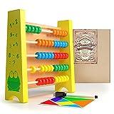 子どものためのaGreatLife 木製そろばん教育おもちゃ無料のマグネットパズルアクティビティキット付き:明るい色と子どもに安全な木製玉で最高の数字カウントフレーム- 幼児に完璧な算数ツール