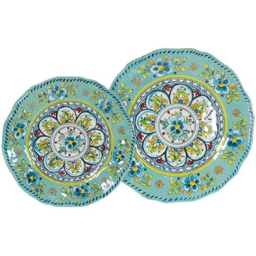 Le Cadeaux Madrid Turquoise - 16 Piece Dinner & Salad Plate Set