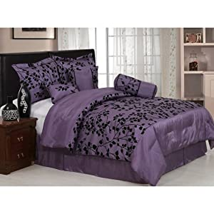 Amazon Com 7 Pieces Purple With Black Floral Flocking