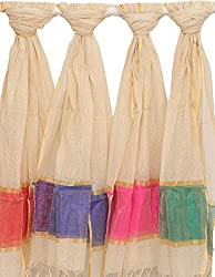 Exotic India Lot of Four Ivory Dupattas with Golden Thread Weave - Ivory
