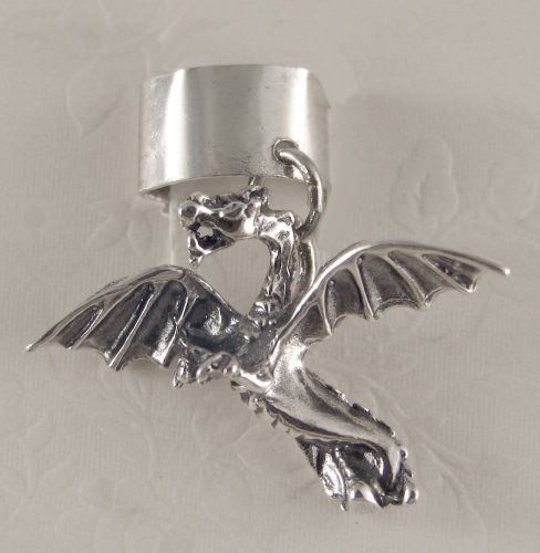 Sterling Silver Flying Dragon Ear Cuff
