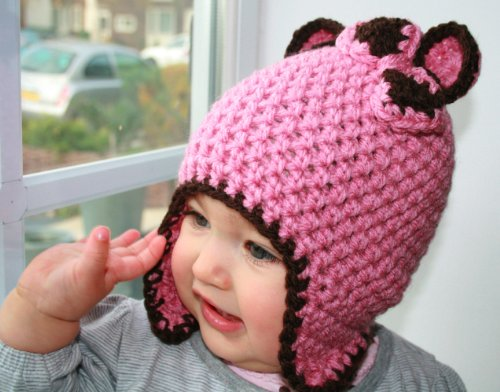 Crochet pattern bear earflap hat  bow, includes