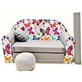 Kindersofa Bettfunktion 3in1 Sofa Kindersessel Ausziehbett Bett A33 Schmetterlinge