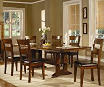 Hot Sale 7pc Dining Set with Metal Accents in Dark Oak Finish