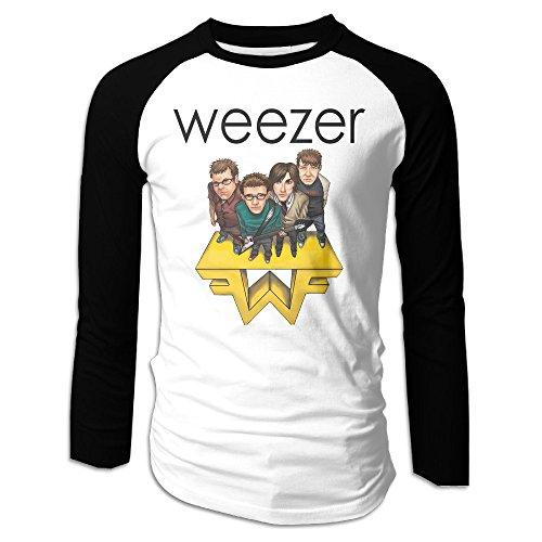 Men Weezer Rock Music Band Long Sleeve Raglan Baseball Tees Black
