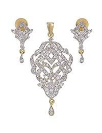 9blings American Diamond Gold Plated Antique Pendant Earring 1202101