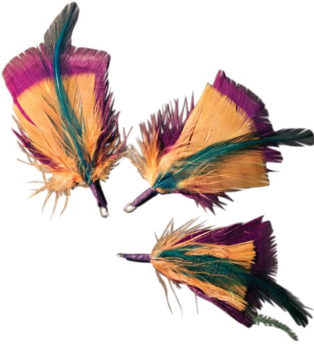 Midwest Design 3-Inch Feather Picks, 3-Pack, Teal/Gold/Deep Plum