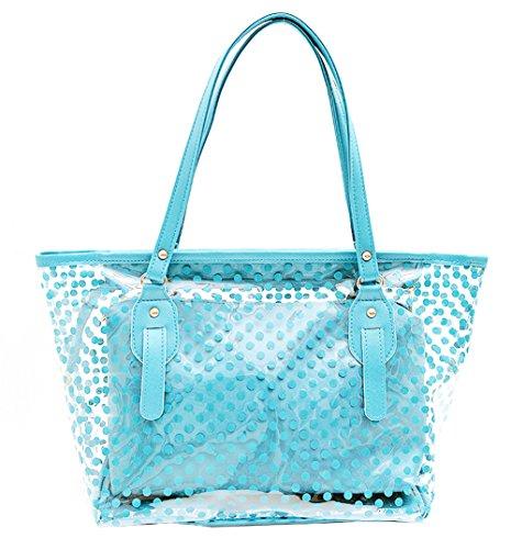 Semi-Clear Beach Wallet Swimming Tote Shoulder Bag Airport Work Bag Lunch Bag (Sky Blue)