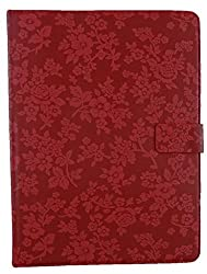 Emartbuy® i-Joy Memphis Tablet 10.1 Inch Universal Range Red Vintage Floral Premium PU Leather Multi Angle Executive Folio Wallet Case Cover With Card Slots + Stylus