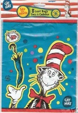 Dr Seuss' The Cat in the Hat Party Favor Supply Loot Bags Treat Sacks 8 Count