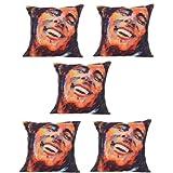 MeSleep Digitally Printed Bob Face 5 Piece Cushion Cover Set - Multicolor