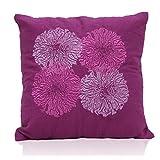 Elan Cotton Cushion Covers Marigold Purple Embroidery Cushion Cover 40 X 40 CM (Purple)