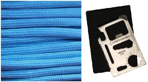 Ultimate Arms Gear Baby Blue 50' Feet Military GI Nylon Type III Specification 550 lbs 7 Strand Heavy Duty Utility Braided Paracord Survival Parachute Tactical Para Cord Rope Made in the U.S.A. + 11-in-1 Multi Functional Purpose Function Credit Card Size Stainless Steel Outdoor Survival Pocket Tactical Tool with Carrying Pouch Case