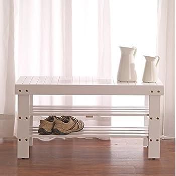 White Finish Solid Wood Storage Shoe Bench Shelf