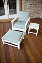 Hot Sale POLYWOOD PWS146-1-WH5413 Club 3-Piece Deep Seating Set, White/Spa