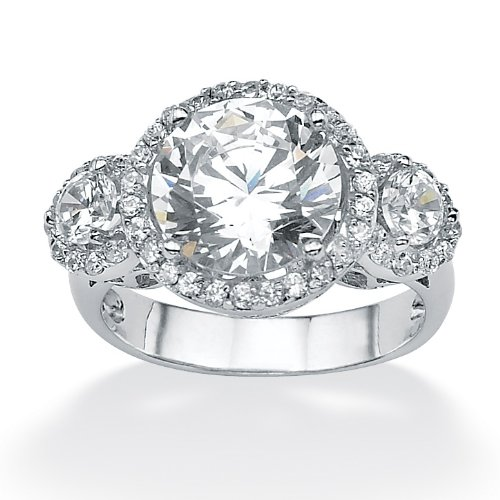 Platinum over Sterling Silver Round DiamonUltra™ Cubic Zirconia Anniversary Ring