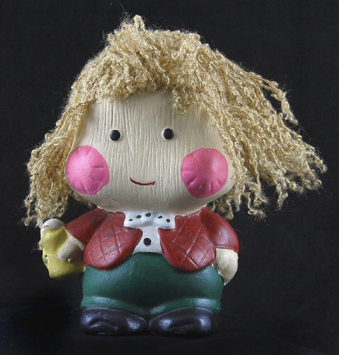 Vintage 1982 Enesco Ceramic Bank - Child with Yarn Hair - 1