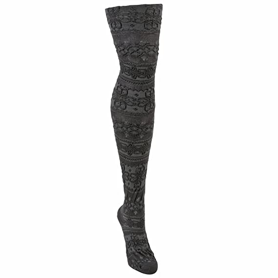 MUK LUKS Womens Patterned Microfiber Tights Blue Steel Ash