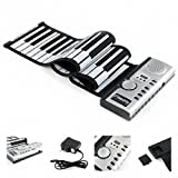 Generic Electronic Keyboard Piano Flexible 61 Keys Roll Up Soft New Color Silver