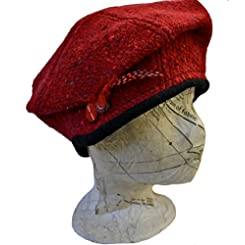 Irish Ladies Hat - Red Tweed - Diana Style - Hand Woven in Ireland