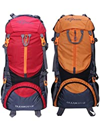 Gleam 0109 Climate Proof Mountain 75 Ltrs Red & Orange Rucksack Backpack With Rain Cover (set Of 2 Combo)