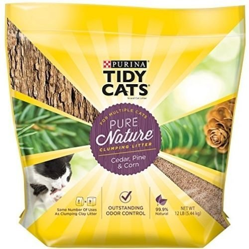 Tidy Cats Cat Litter 12-pound Bag Clumping, Outstanding odor control,99.9% Dust-Free,Pure Nature, Cedar, Pine & Corn (Corn Husk Shells compare prices)
