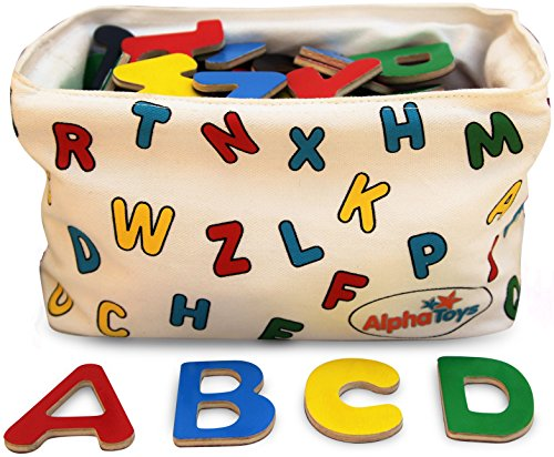 AlphaToys Magnetic Alphabet Wooden Letters - 78 ABC Refrigerator Magnets with Hanging Organizer - Perfect Storage Solution. Includes Booklet of 12 Fun & Educational Games. Great Preschool Learning Toy (Digits In A Box compare prices)