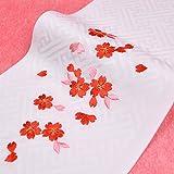 日本製 子供用 刺繍半衿(半襟) 白 桜柄2 七五三 結婚式 3歳 7歳 半襟