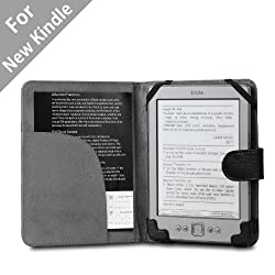 "Acase(TM) Classic Leather Case (Black) for 4th Generation 6"" Kindle Wi-Fi w/o Keyboard (NOT FOR KINDLE TOUCH)"