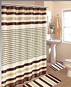 15pc Beige Brown Stripe Bathroom Bath Mats Set Rug Carpet Shower