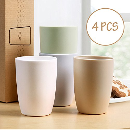 Superelead Premium Multicolor Plastic Unbreakable Drink Cups 13.5oz Set of 4 for Water, Coffee, Milk, Juice, Tea (Plastic Cups Microwave Safe compare prices)