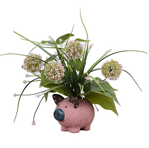 Artificial Flowers Bonsai Plants with Cute Pig Shape Vase ,Size:5.1x11.4inch (grass ball)