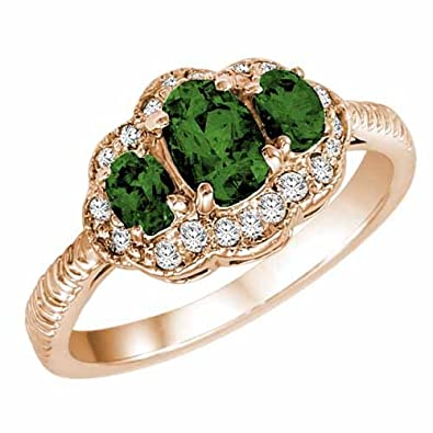 Ryan Jonathan Vintage Style Emerald and Diamond Ring in 14K White Gold