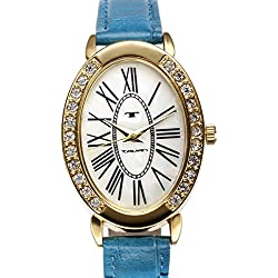 Tavan Jeanne Mother of Pearl with Blue Leather Strap Women's Watch