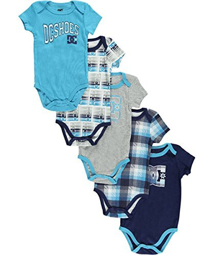 """Dc Shoes Baby Boys' """"Logo Plaid"""" 5-Pack Bodysuits - Turquoise, 3 - 6 Months front-936326"""